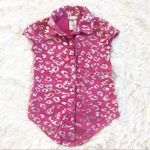 Piper Girls 6 / 6x Pink And Silver Button Up Shirt